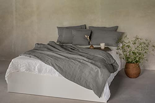 Ger3as Juego de ropa de cama de lino 100 % natural lavado a la piedra, lino natural, con cierre de hotel (gris, 135 x 200 cm, 40 x 80 cm)
