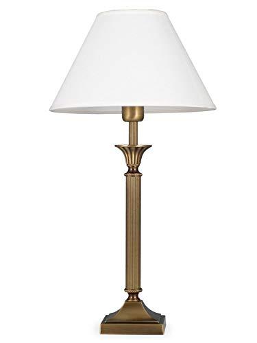 Helios Leuchten 403776/5 Vintage Lampe Leuchte | klassische Jugendstil Tischleuchte Tischlampe | Retro Schreibtischlampe echt Messing antik Altmessing | Lampenschirm weiss | 1xE14