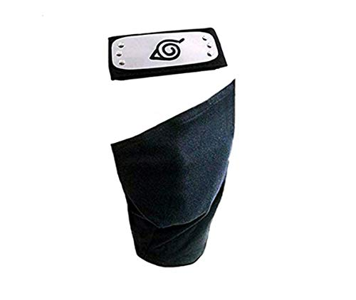 Naruto Cosplay Headband,Leaf Village Headband/Forehead Protector and Face Mask Kakashi Cosplay Mask Veil (Black)