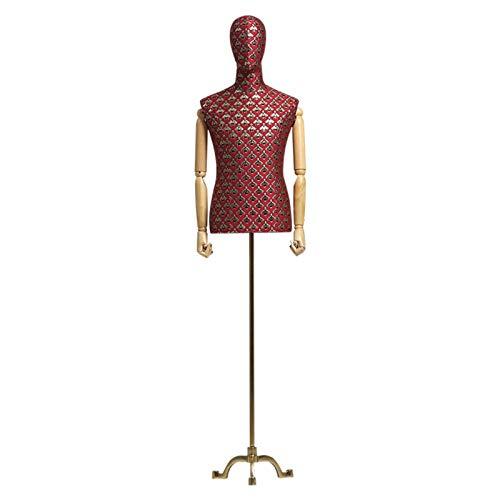 FSFF Maniquí de Sastre Masculino, Busto de exhibición de modistas de maniquí Ajustable con Cabeza Desmontable y Brazo de Madera Maciza Adecuado para exhibición de Ropa de Hombre (Color: Rojo)