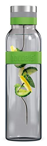Glaskaraffe SUND 1.100ml, Wasserkaraffe, Fruchtspieß abschraubbar, Borosilikat-Glas hitzebeständig, Kanne mit Edelstahl-Deckel und Filtereinsatz, spülmaschinengeeignet, tropffrei Ausgießen (Grün)