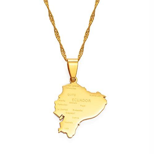Karte Von Ecuador Anhänger Halsketten - Charme Afrikanischen Ethnischen Karten Flagge Dünne Kette Halsketten, Patriotische Gold Farbe Karte Hip Hop Schmuck Für Frauen Männer Party Geschenk, Gold