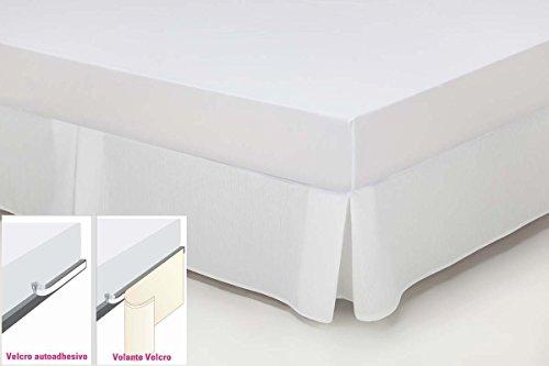 ESTELA - Cubrecanapé Hilo Tintado RÚSTICO Color Blanco óptico - Cama de 105 cm. - Cierre con Velcro - 50% algodón / 50% poliéster - Medidas: 105 x 190/200 + 35 cm.