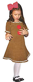 Dress Up America Gingerbread Costume - Cute Gingerbread Man Dress-Up for Girls  Small  Brown