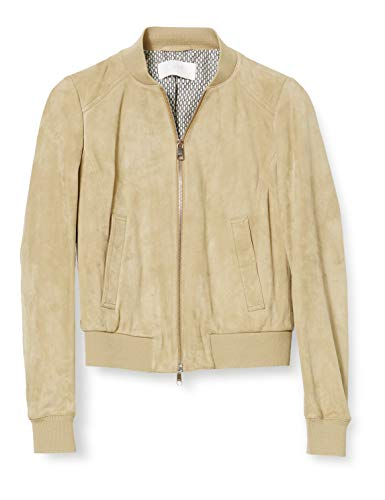 BOSS Womens Jorchid Leather Jacket, Medium Beige (262), 42