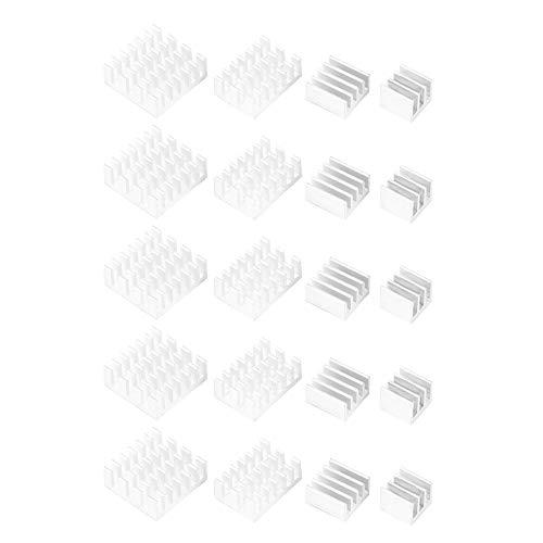 iFCOW 20 piezas disipador de calor de aluminio con adhesivo para Raspberry Pi 2/3/4 3B+ 4B