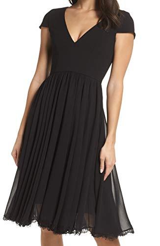 Dress the Population Women's Corey Plunging Mix Media Cap Sleeve A-line Midi Dress, Black, M