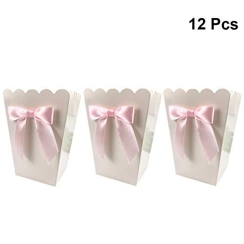 MNHJG Süßigkeitensack 12 Stück Bow Box Party Supplies Papier Popcorn Boxen Taschen CandyTreat Boxen Lebensmittelbehälter Geburtstag Baby Shower Hochzeit, Pink