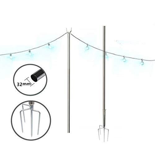 FLY HAWK String Light Pole, 32 mm String Light Terrace Garden Terrace Residential Cafe Wedding Decoration with 10 Feet Rust Bracket LED or Suspended Light Solar Bulb Upgrade
