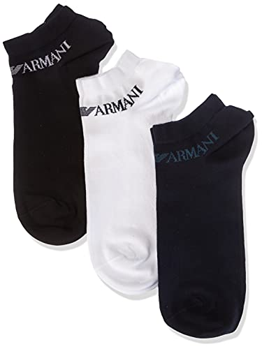 Emporio Armani Underwear in-Shoe Socks Set 3Pack Casual Set di 3 Calzini, Nero/Blu/Bianco, M Uomo