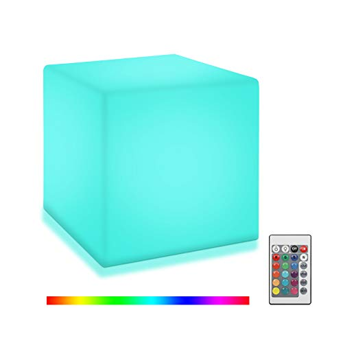 Color Changing LED Night Light Cube, 6 Inch Bedside RGB Mood Light with 16 Colors 4 Lighting Modes, Rechargeable Dimming Night Lamp with Remote for Bedroom,Restaurant,Outdoor Garden