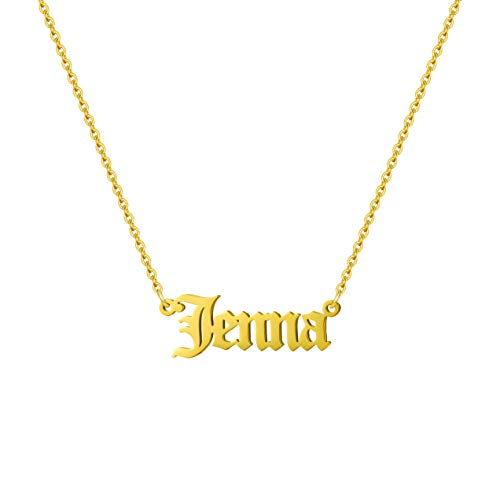 Joycuff Old English Necklace Personalized Name Necklaces for Women Teen Girls Daughter Best Friend Sister Wife Girlfriend for Mom 18K Real Gold Jewelry