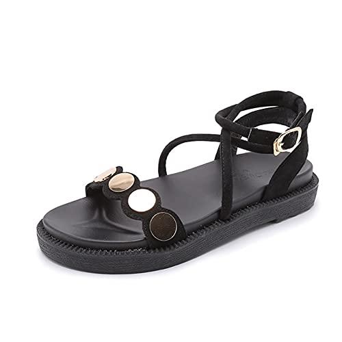 Sandalias de mujer transpirables con punta abierta verano gladiador zapatos de playa bohemios calzado con hebilla sandalias de ocio para piscina al aire libre