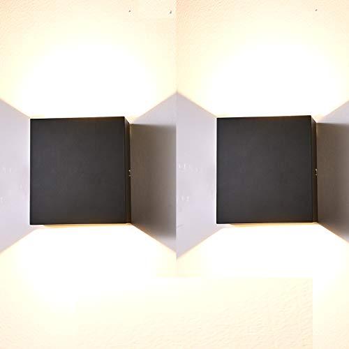 Aplique Pared Interior LED, 2 Pcs Aluminio Lámpara de pared Moderna 7W Blanco Cálido perfecto para La Sala De Estar Dormitorio Baño Cocina Comedor (Negro)