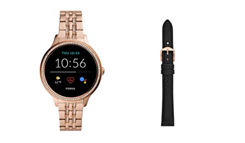 Fossil Damen Touchscreen Smartwatch 5E. Generation mit Lautsprecher, Herzfrequenz, GPS, NFC und Smartphone Benachrichtigungen + Fossil Watch Strap S181325