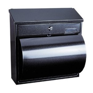 Rottner Wallersee Steel Black Post Box with Integrated Newspaper Holder Letter Box Mail Box Anthracite Large Mailbox Top Slot