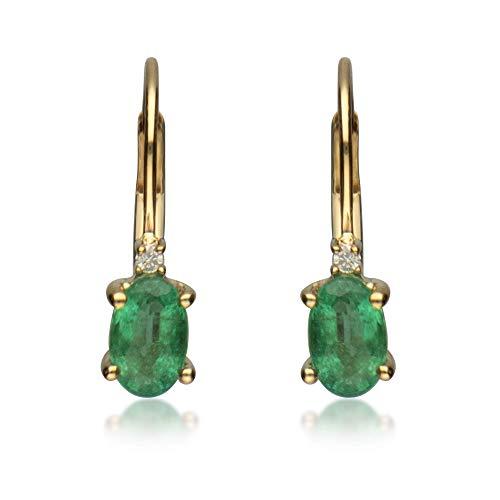 Gin & Grace Oro amarillo de 10k Esmeralda Natural y diamante natural (I1, I2) Pendiente posterior Palanca gota Estilo de la Mujer