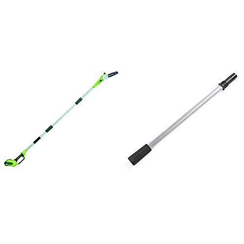 Greenworks 8.5' 40V Cordless Pole Saw, 2.0 AH Battery Included 20672 with EP40A010 Extension Pole for Polesaw/Hedge Trimmer, Black and Green