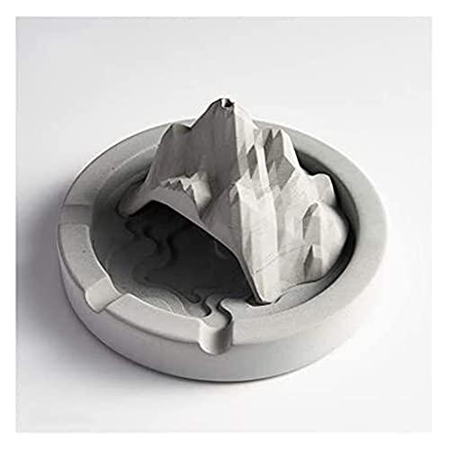 Cenicero para cigarrillos creativo artesanía decoración duradera cenicero cemento cenicero, rockery montaña en forma de cenicero, micro castillo arquitectónico cenicero, muebles, decorativo, gris en e