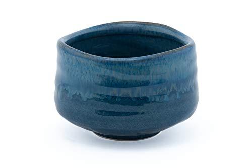 Fuji Merchandise Japanese Traditional Matcha Bowl Ochawan Reactive Glaze Quality Porcelain 21 Fl. Oz (Blue)