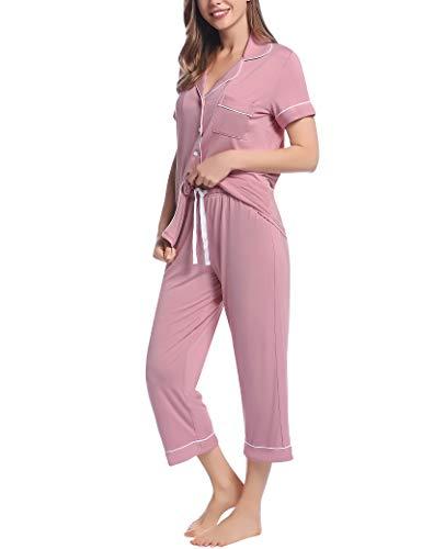 Joyaria Pijama Capri de manga corta con botones para mujer Rosa voluminosa. M