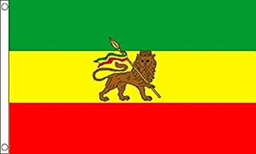 Flagtex Ethiopia with Lion Rasta Bandera, Unisex Adulto