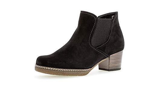 Gabor Damen Stiefeletten, Frauen Ankle Boots,Comfort-Mehrweite,Reißverschluss,Optifit- Wechselfußbett,schwarz(S.n/Micro),40 EU / 6.5 UK