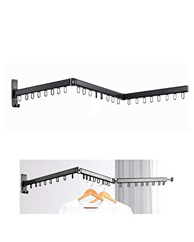 Wall Mounted Folding Clothes Drying Rack  Collapsible and Retractable Space Saver Heavy Duty Laundry Drying Rack with Towel BarEasy to Install Balcony Mudroom Bedroom PoolArea