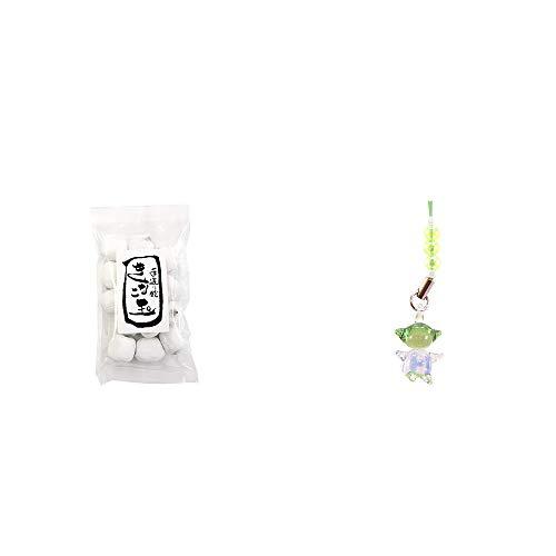 [2点セット] きなこ玉(160g)・ガラスのさるぼぼ 手作りキーホルダー 【緑】 /健康運・平穏・病気を寄付けない・健康祈願//