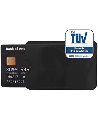 1x Schutzhülle RFID Blocker für NFC Kreditkarte EC Karte und Ausweis Datenschutz (Schwarz)