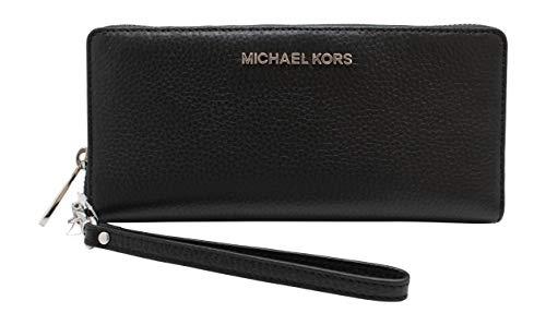 Michael Kors Jet Set Travel Continental Rits Rond Lederen Portemonnee Polsband (Zwart met Zilveren Hardware)