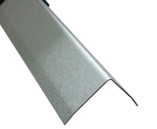 Edelstahl Winkel 3-fach gekantet 150 cm Kantenschutz Metall V2A Eckleiste (K240 geschiffen, 40x40x0,8 mm)