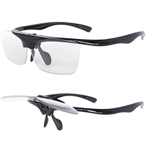 LEOTTIレオッティ 跳ね上げ式ルーペ 軽量 眼鏡拭き生地巾着付 倍率1.6倍 ブラック
