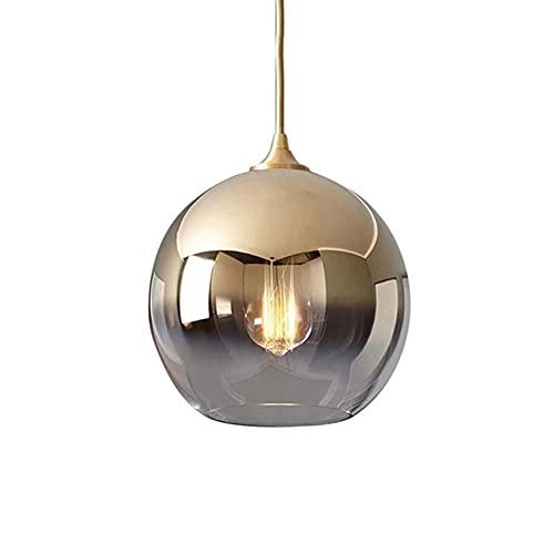 JISHUBO Lámpara Colgante Pequeña De Mesa De Comedor De Noche De Estilo Nórdico, Lámpara De Araña Esférica Creativa, Pantalla De Cristal, Luz Colgante De Un Solo Cabezal E27