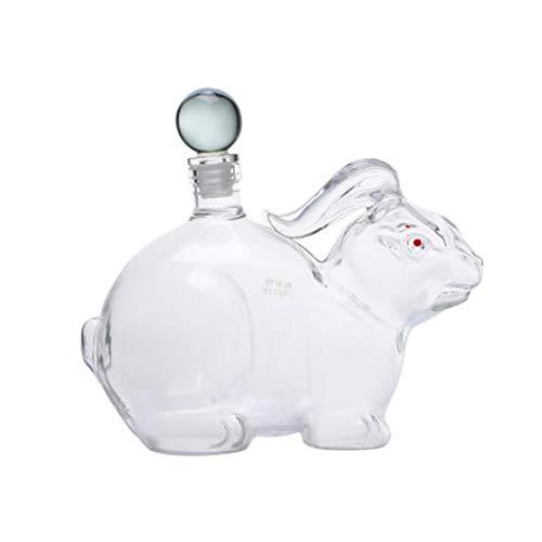 OMLTER Animal Modelado Decantador con Maleta, Mano Soplar Conejo Forma Transparente Vaso Whisky Licorera, Vino Dispensador, Decantador para Whisky, Vino Tinto, Brandy