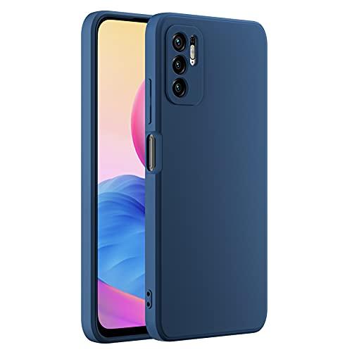 Cresee Funda compatible con Xiaomi Redmi Note 10 5G/Poco M3 Pro, de silicona con [protección de cámara] [interior de fibra] Antiarañazos, fina carcasa antigolpes, color azul