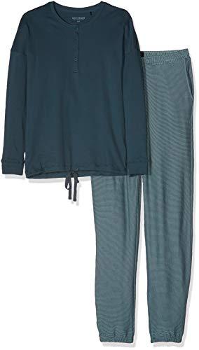 Schiesser Schiesser Damen Anzug lang Zweiteiliger Schlafanzug, Blaugrau gestreift, 38