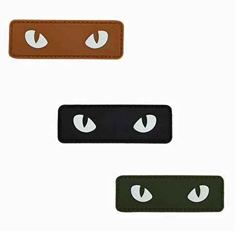 3 Pack Military Patches Badges Glow The Dark Cat Eyes Printing Tactical Patches Badges Tactical Badges for Clothing Backpack Armband( Army Green Orange Black )