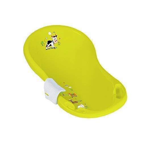 Baignoire Bébé 84 cm sans Bouchon Funny Farm Vert + Gant à Laver Baignoire pour Bébé