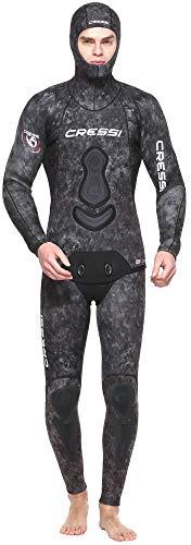 Cressi Apnea Men Complete Wetsuit 5mm Traje Profesional de Apnea y Pesca, Hombre, Gris/Verde, S/2