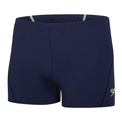 Speedo Men's Endurance+ Polyester Jammer Swimsuit (34, Navy/Bright Zest)