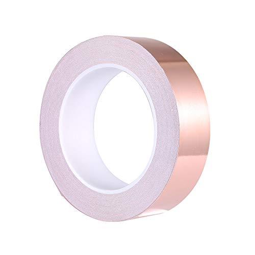 Zalava 30mm X 25M Kupferband Kupferfolienband EMI Kapton Tape Abschirmband Kupferfolie Kupferband Selbstklebend Klebeband Schneckenband Schneckenschutz (30mmX25M)