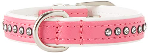 HUNTER MODERN ART LUXUS Hundehalsband, Kunstleder, mit Strasssteinchen, pink/weiß, 20/23.5 cm