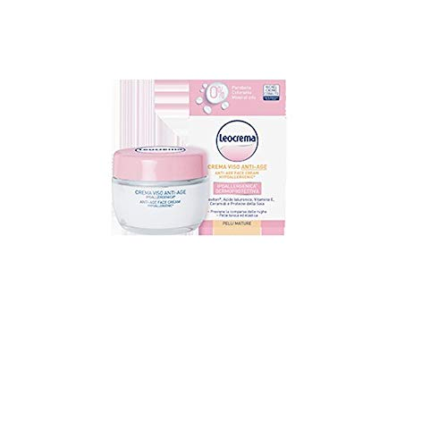 LEOCREMA Crema facial antiedad antiarrugas, hipoalergénica, para pieles maduras, con ácido hialurónico, vitamina y proteínas de soja 50