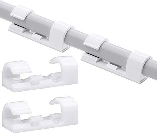 60 Stück verbesserte Home Essentials Finisher Drahtklemme, multifunktionale Kabel-Organizer-Clips mit starken selbstklebenden Pads, Kabelhalter für Auto, Büro und Zuhause Kabelmanagement (weiß)