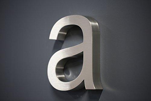 Lüllmann Hausnummer Premium Edelstahl in 3D Design Arial ALLE Zahlen H20cmxT3cm V2A TOP (Buchstaben a 20cmx3cm)