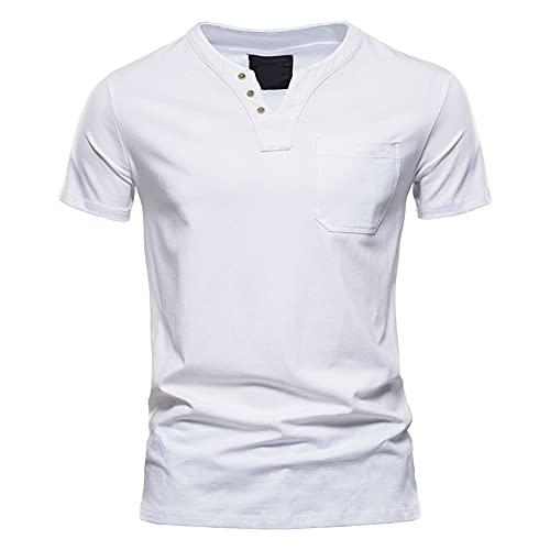 Summer Simple Casual T-Shirt Homme Sport T-shirt Slim Coton Poche Hommes, blanc, XXL