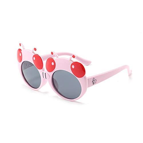 Yuhualiyi123 Gafas De Sol Linda De La Mariquita, Niños Vidrios Polarizada, Marco De Silicona, Protección UV 400 Gafas, For Chicos, Chicas Edad 3-12 (Color : Light Pink, Size : Grey)