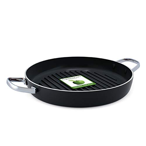 GreenPan Grill Pan with Two Handles, Non Stick Stainless Steel Ceramic...