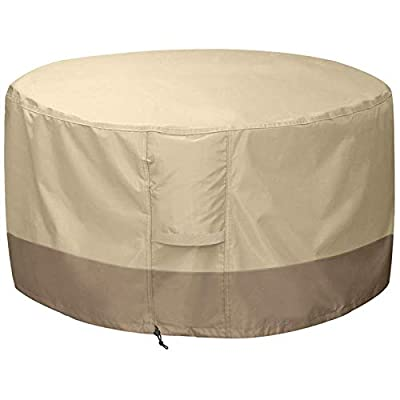 Vaorwne Fire Pit Cover Round-210D Oxford Cloth Heavy Duty Patio Outdoor Fire Pit Table Cover Round Waterproof Fits for 34/35/36 Inch Fire Pit Bowl Cover (36 Inch D x 24 Inch H,Beige+Brown) by Vaorwne